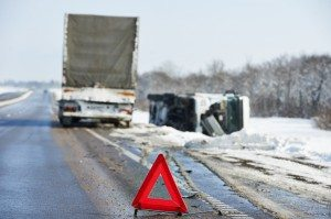 winter tractor trailer crash