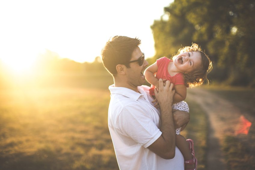 Father and daughter in nature